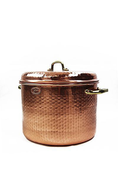 "CopperGarden®"" hammered copper pot 18L with handles and lid"