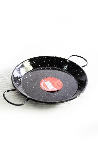 Sartén paellera esmaltada de color negro, de 24 cm de diámetro