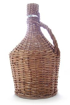 """Arauner"" Wicker cased glass demijohn /carboy (15L) with cork stopper"
