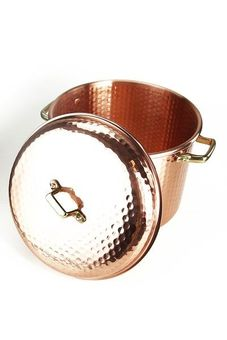 """CopperGarden®"" copper pot 8L, 24 cm, hammered with handles"