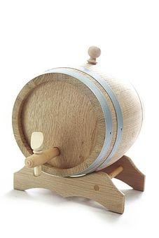 Barril de 10 litros con soporte de madera de roble, natural, secado