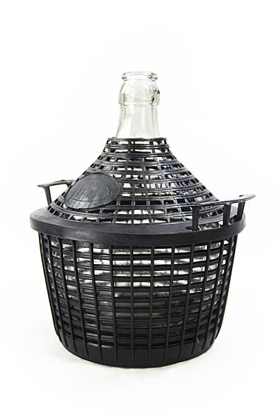 Glass carboy/ demijohn with protective basket, 10 L - for storage and fermentation