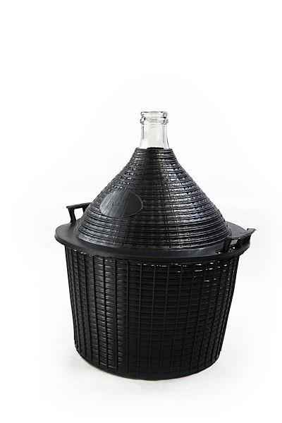Glass carboy/ demijohn with protective basket, 25 L - for storage and fermentation