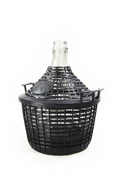 Glass carboy/ demijohn with protective basket, 5 L - for storage and fermentation