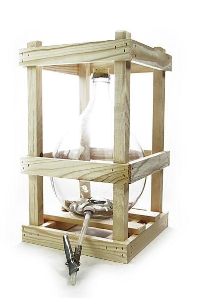 10 L crated glass demijohn with accessories