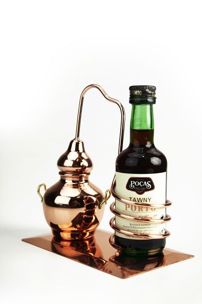 CopperGarden®  Alembic still bottle holder, mounted on a copper plate