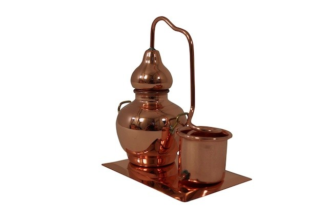 CopperGarden®  Miniature Alembic with condenser on a copper plate