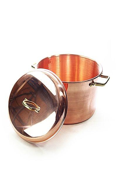 """Olla de cobre lisa de 8 litros con asas y tapadera de la marca  CopperGarden®"""""""
