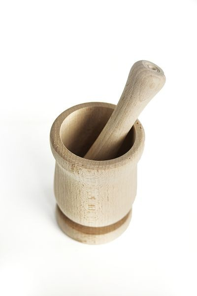 Mortar and Pestle made of natural wood