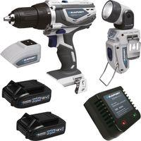 Blaupunkt BSTA 754901 18 Volt Dynamic Network Akku System Starter-Set 1, Bohrschrauber, USB-Adapter, Taschenlampe inkl. 2 Akkus (2.0) und Lader – Bild 1