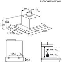 AEG DPE 5950 G 90cm Edelstahl Flachschirm Dunstabzugshaube, Einbau Wandesse, ausziehbar, 3 Stufen + 1 Intensivstufe, LED-Beleuchtung, EEK: A – Bild 3