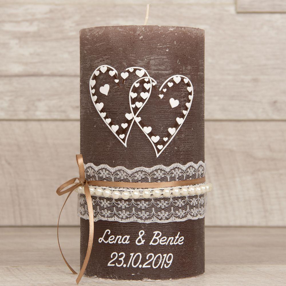 Hochzeitskerze Rustik / Vintage mit Herzen und Spitzen-Perlen-Borte