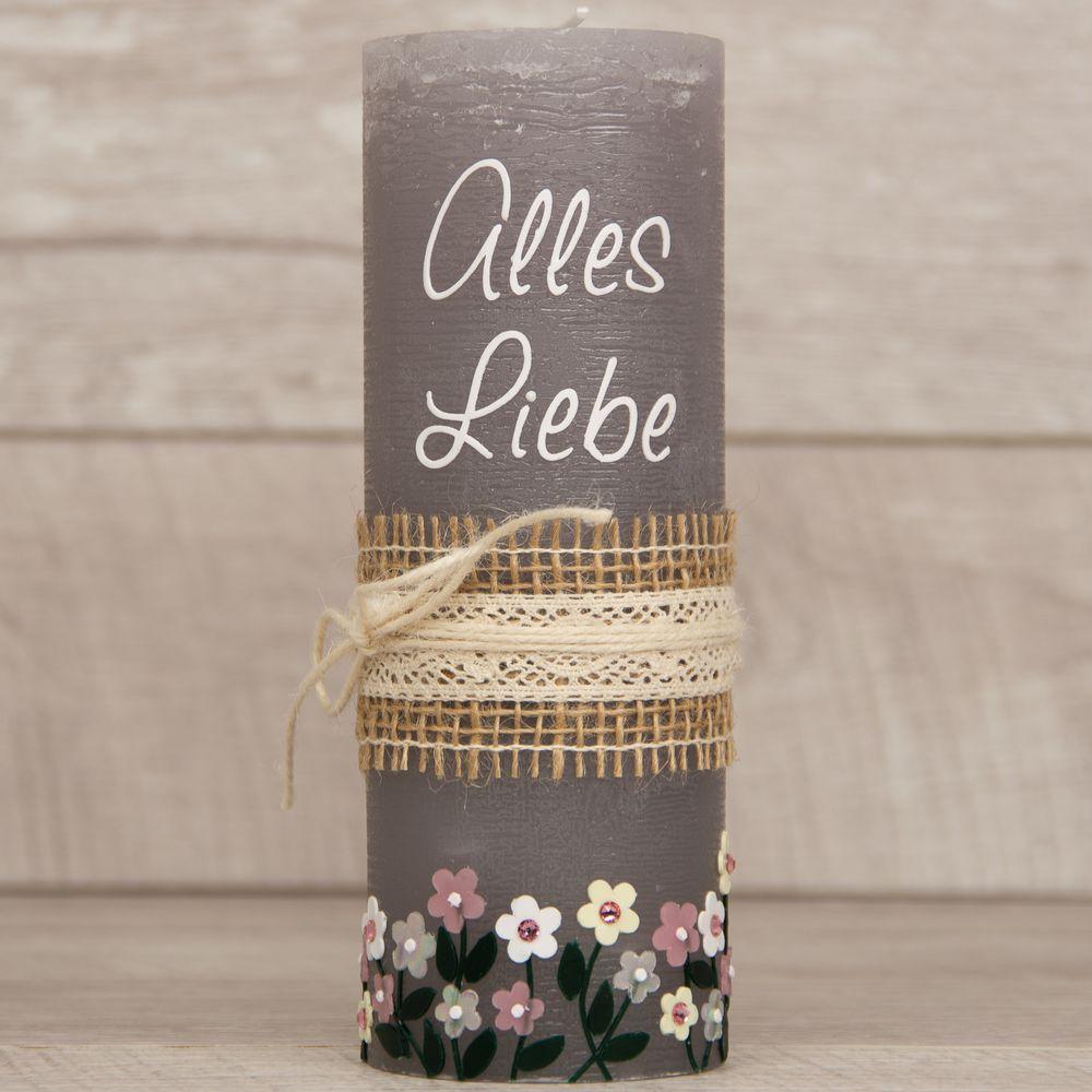 Geburtstagskerze Rustik/Vintage-Kerze Alles Liebe