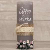 Geburtstagskerze Rustik/Vintage-Kerze Alles Liebe 001