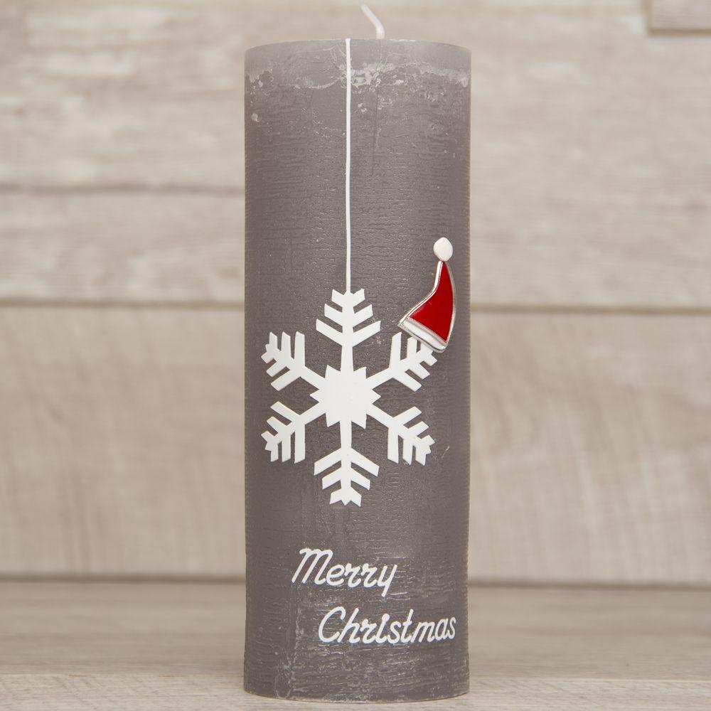 Rustik Weihnachtskerze mit hängendem Eiskristall mit Nikolausmütze