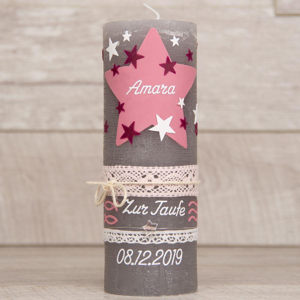 Taufkerze Rustik Vintage mit Sternen, Bändern und Borten