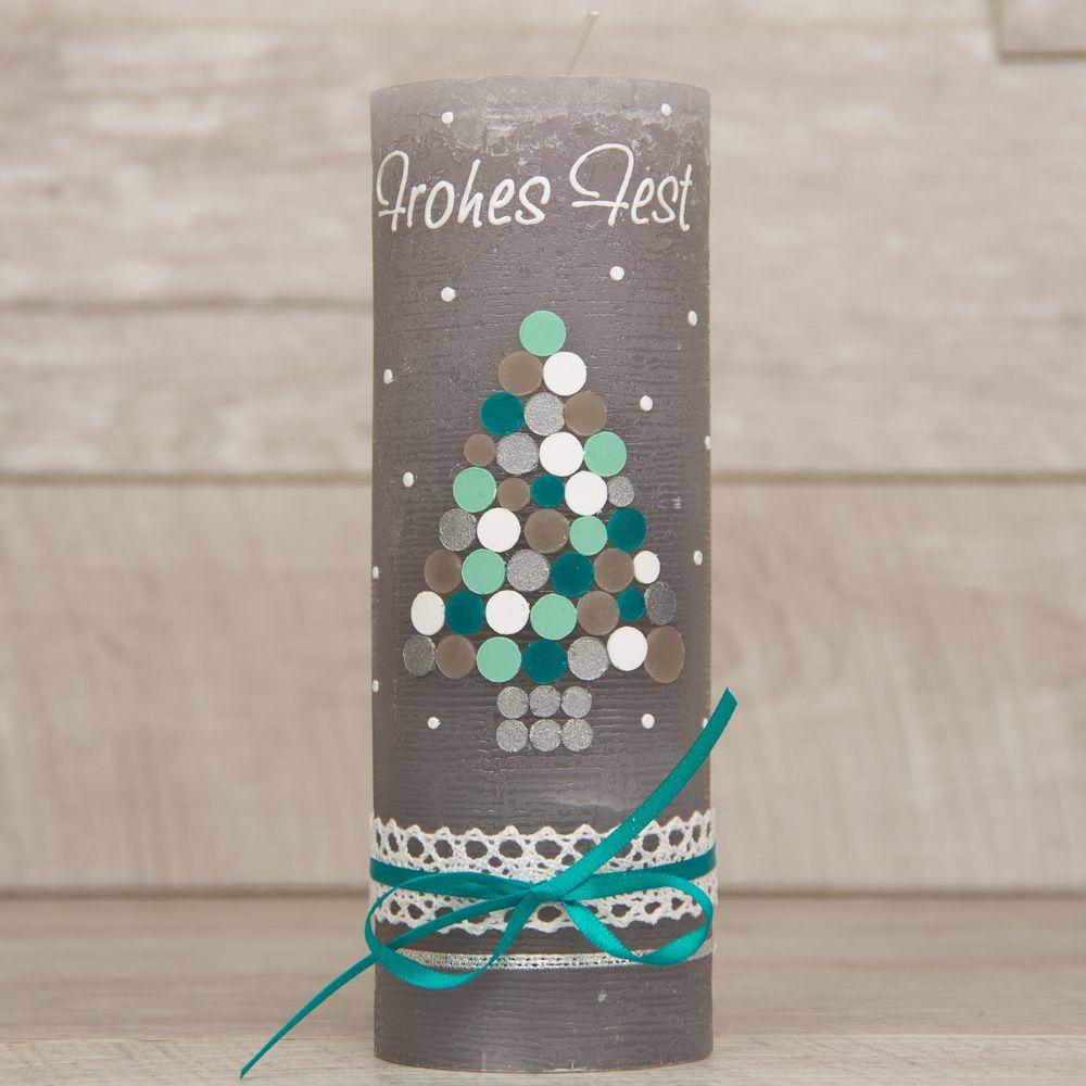 Rustik Weihnachtskerze mit Kugel-Weihnachtsbaum