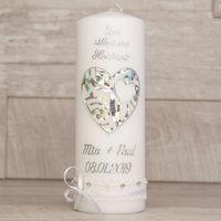 Hochzeitskerze mit Herz  und Borte zur Silberhochzeit  001