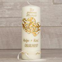 Hochzeitskerze mit Herzen und Borte zur Goldenen Hochzeit  001