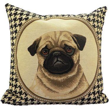 Gobelinkissen Mops beidseitig - Zierkissen Hunde Motiv  45 x 45 cm