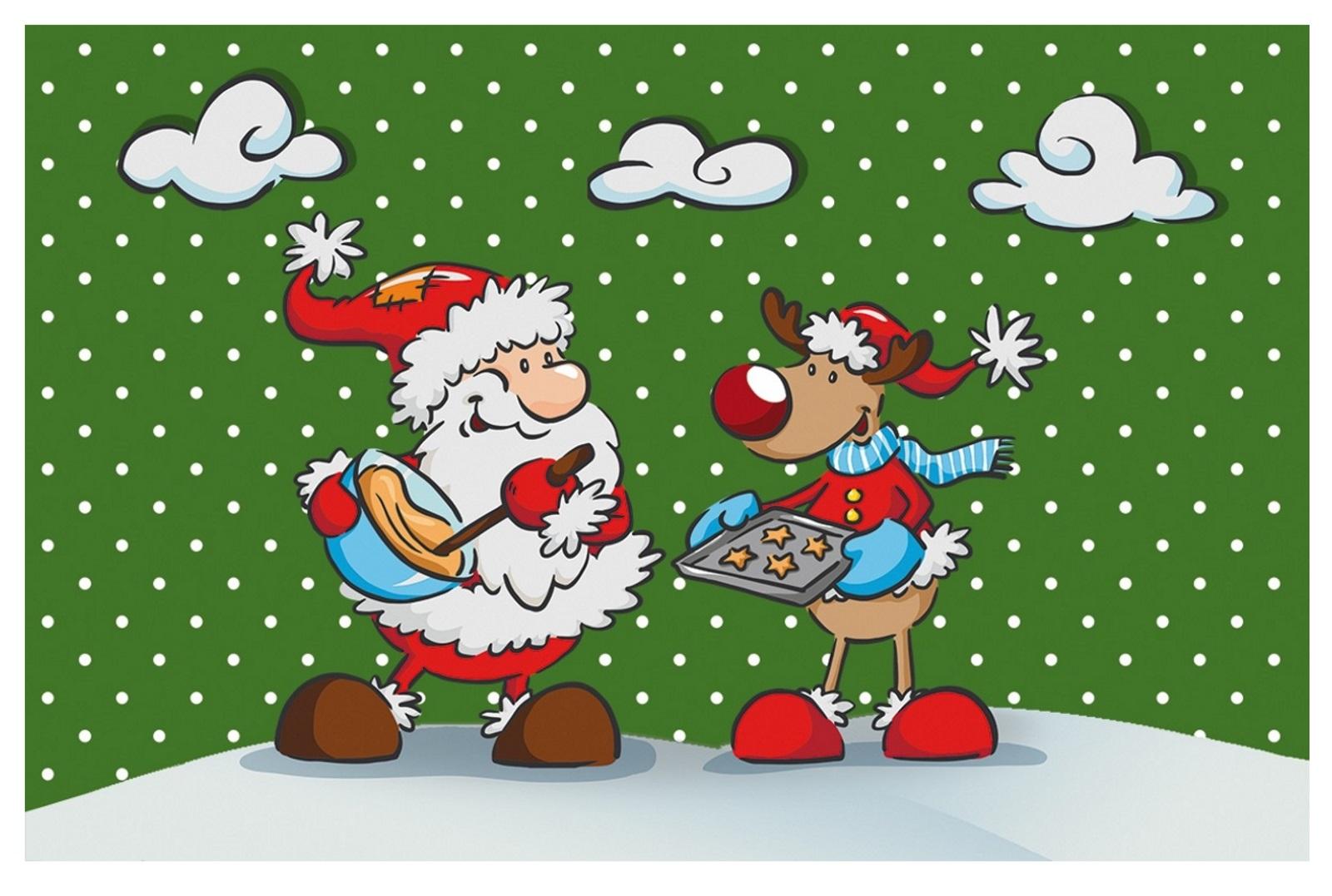 waschbare Fußmatte - Weihnachten - Nikolaus - Rentier - Türmatte ...