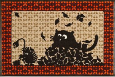 Fußmatte waschbar - Herbst  Katze und Igel - Türmatte Fußabstreifer