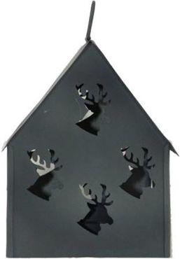 Lichterhaus Hirsch - Zink grau - Teelicht-Haus Shabby – Bild 1