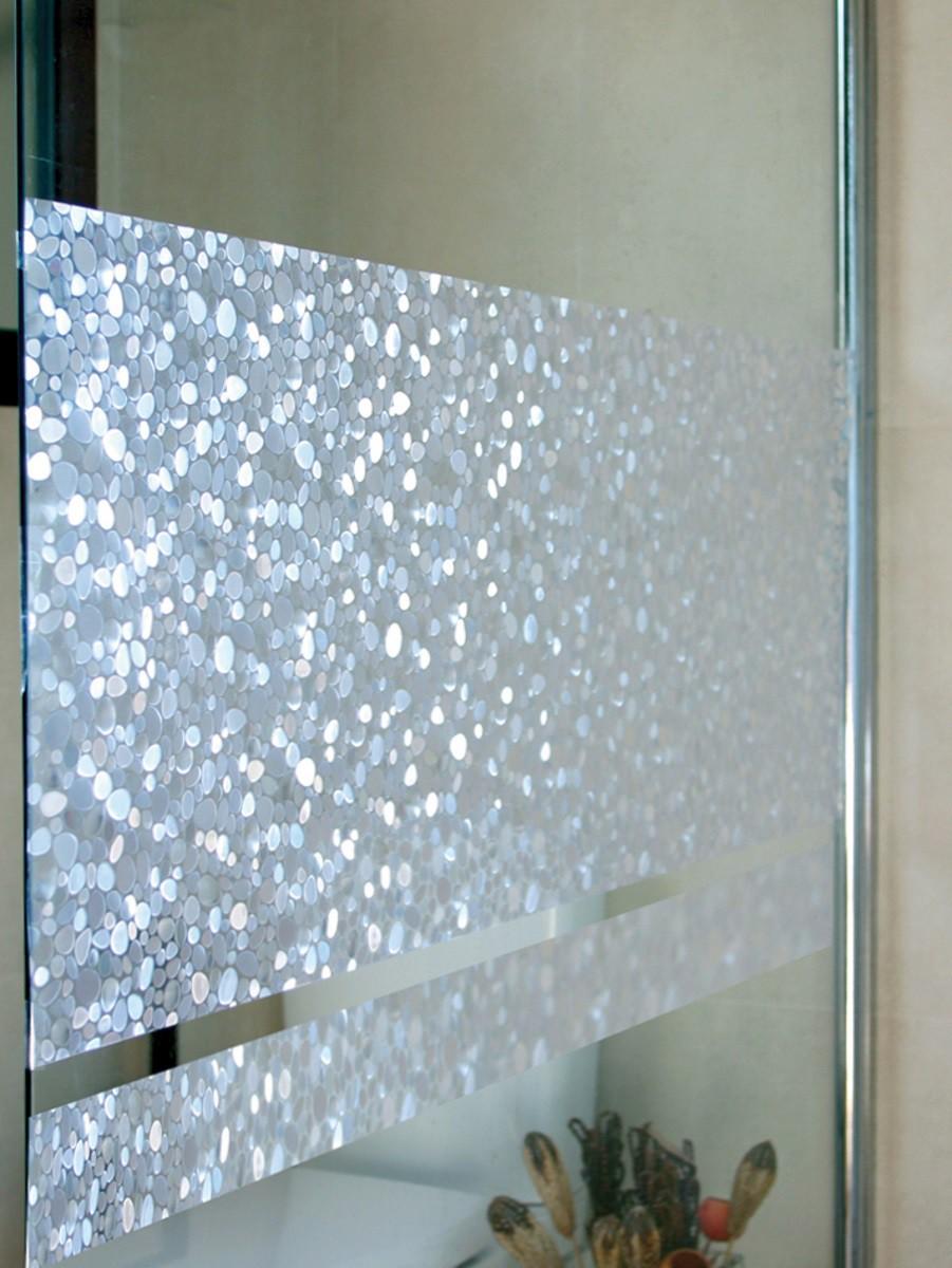 Fensterfolie pebbles 46 cm hoch statische folie linea - Fensterfolie statisch anbringen ...