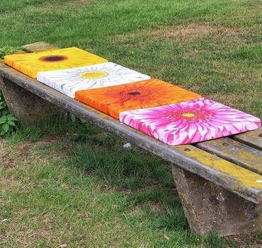 Dekokissen Sitzkissen Blume rosa / rosé Kissen 40 x 40 cm Stuhlkissen – Bild 3
