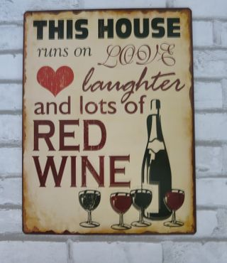Nostalgie Blechschild Rotwein Red Wine Retro Wandschild Shabby Vintage – Bild 2