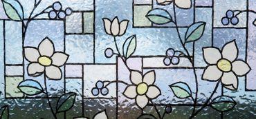 Fensterfolie Blumen GLS 4657 - 50 x 46 cm - statische Dekorfolie Buntglas – Bild 1