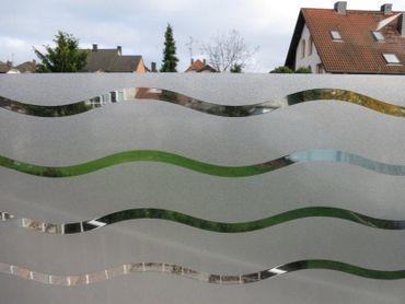 statische Fensterfolie Wave 80 cm x 45 cm  Wellen Folie Milchglasfolie – Bild 1