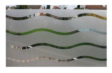 statische Fensterfolie Wave - 110 x 45 cm  Wellen Folie Milchglasfolie – Bild 1