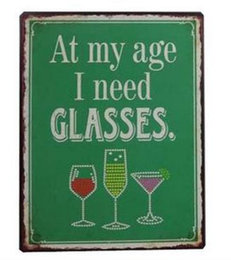 Blechschild Schild - I need Glasses - Vintage Wandschild Metallschild