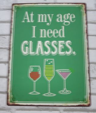 Blechschild Schild - I need Glasses - Vintage Wandschild Metallschild  – Bild 2