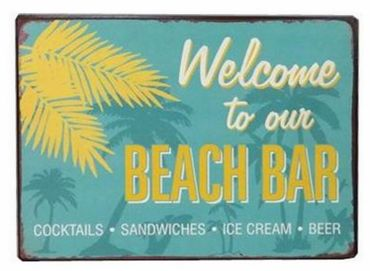 Blechschild - Welcome to our beach bar - Retro vintage Deko Schilder