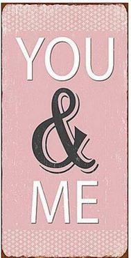 Kühlschrankmagnet YOU & ME - rosa Vintage Deko Schild Nostalgie Magnet