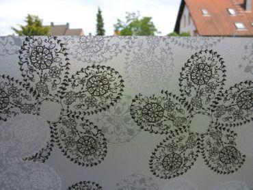 statische Fensterfolie Barock Spitze Blüten, Dekorfolie Brilliant Lace