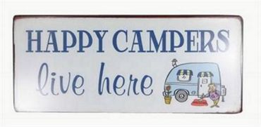 Blechschild  - Happy Campers live here  - Vintage Deko Schild Camping