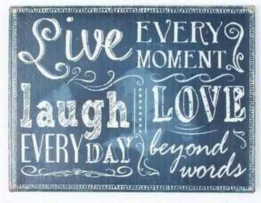 Kühlschrankmagnet mit Spruch - Live Laugh Love - Magnet Schild Vintage