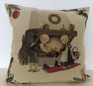 Kissenhülle Winter Kinder Nostalgie - Kissenbezug Kissen - ca 45x45 cm – Bild 3
