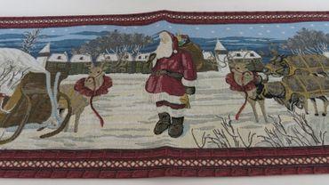 Tischläufer Weihnachten Nikolaus romantischer Gobelinläufer mit Quasten – Bild 2