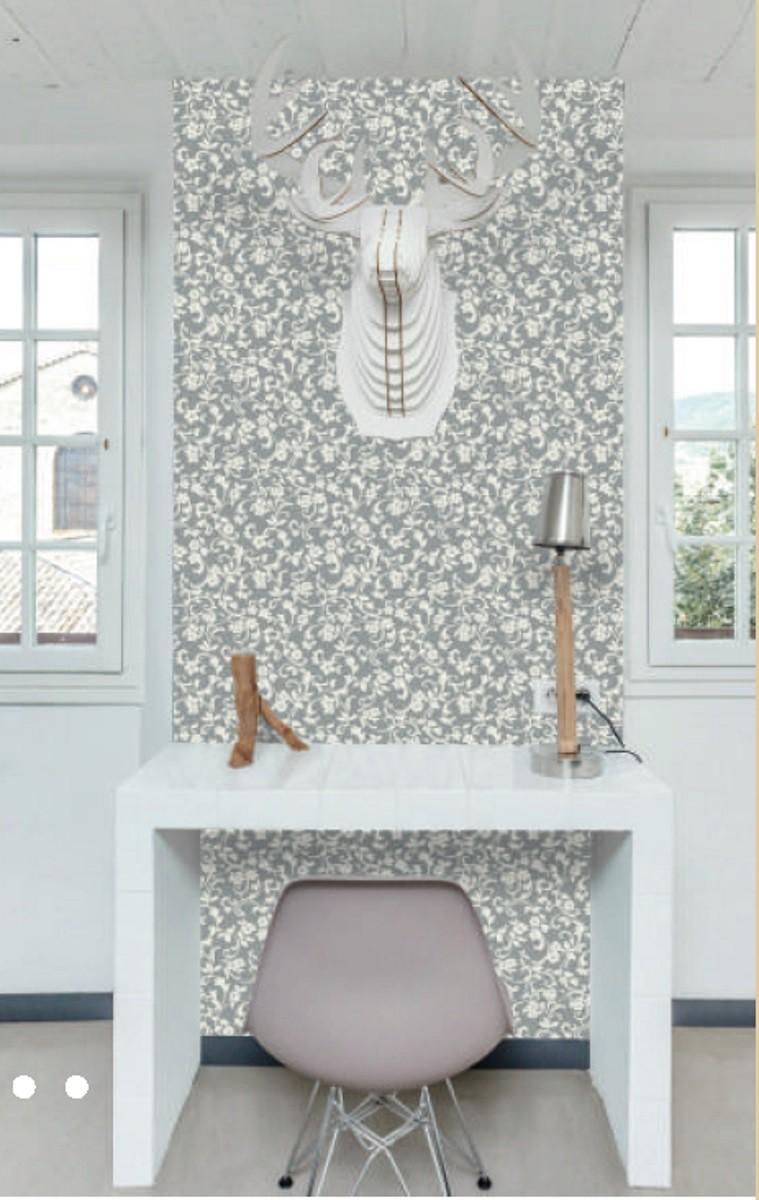 Klebefolie grau weiß - Muster Cirrus Ranken - Dekorfolie für Möbel