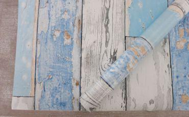 Klebefolie Holzoptik - altes Holz Scrapwood blue - Dekorfolie 45x200  – Bild 3