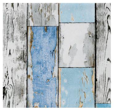Klebefolie Holzoptik - altes Holz Scrapwood blue - Dekorfolie 45x200  – Bild 1