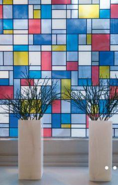 bunte Fensterfolie Mondriaan - Glasdekorfolie selbstklebend Klebefolie – Bild 2