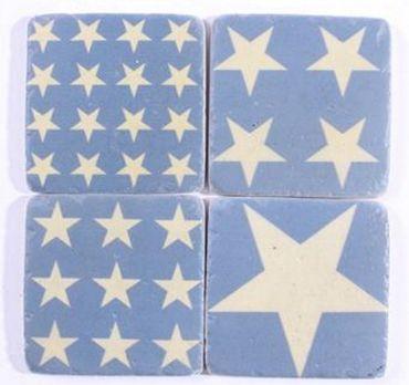Untersetzer Sterne blau - Stone Coaster Stars Set 4-teilig Antik Look  – Bild 1