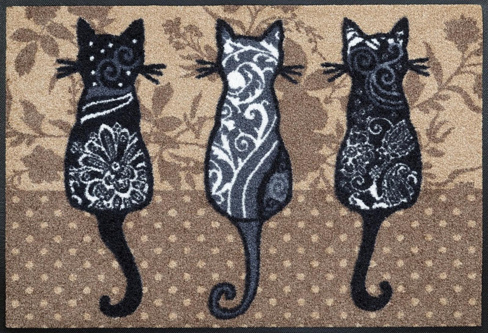 Waschbare Fussmatte Katzenbande Katzen Fussabstreifer Wash Dry