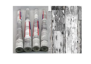 Klebefolie 4er Set - Holz Scrapwood dunkel - Möbelfolie Dekorfolie
