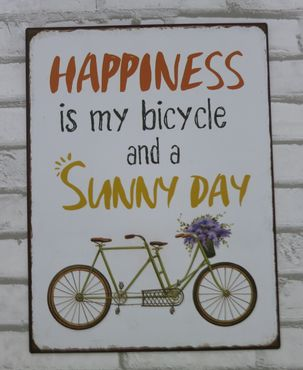 Blechschild  Happiness is my bicycle - Retro Vintage Deko Metallschild – Bild 2